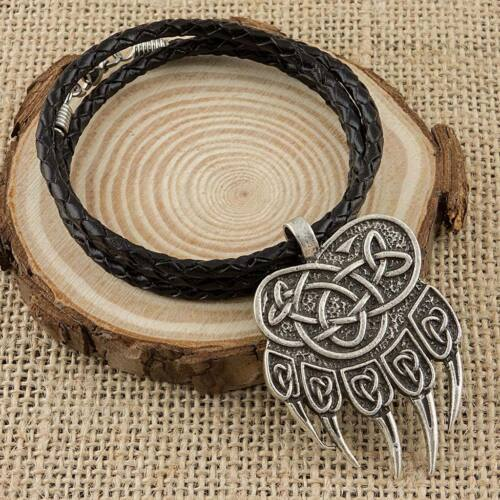 Viking Bear Paw Colgante Collar de Cuero Real Hecho a mano con