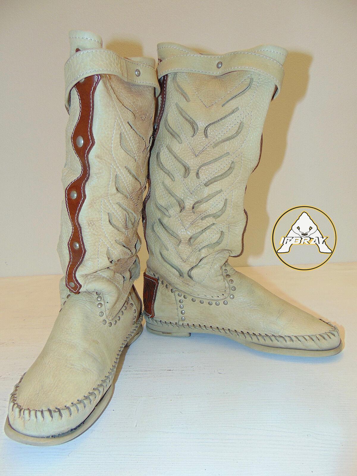 USATO RICCIONE 40 Scarpe Stivale 7 6 Donna Pelle Bianco Marrone Cowboy Alto Pelle Donna 78cd53