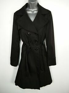 WOMENS GEORGE UK 12 BLACK DOUBLE BREASTED & BELTED SMART LIGHTWEIGHT TRENCH COAT
