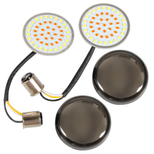 1Pair Smoke Lens Turn Signal LED Bullet Blinker 1157 Indicator Lights for Harley