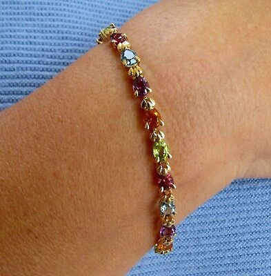 14K Yellow Gold Gemstone Bracelet With Multi Color Sapphires 8 Inches
