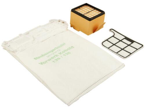 filtre 12 Sacs pour Aspirateur Filtre Adapté Pour Vorwerk Kobold 135//136 sacs