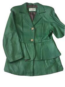 Arctic-Ocean-Italy-Fashion-Women-039-s-Sz-M-Green-3-Button-Jacket-Pinch-waist-skirt