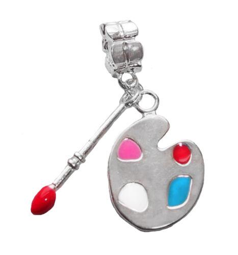 Artist Paint Palette Art Silver Plated Dangle Charm for European Slide Bracelets