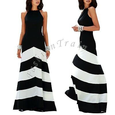 Womens Striped Summer Boho Long Maxi Cocktail Party Beach Chiffon Casual Dress