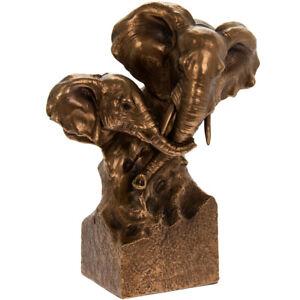 Avoir Un Esprit De Recherche Elephant & Calf Ornament Elephants Head Statue Bronze Effect Leonardo Collection Frissons Et Douleurs