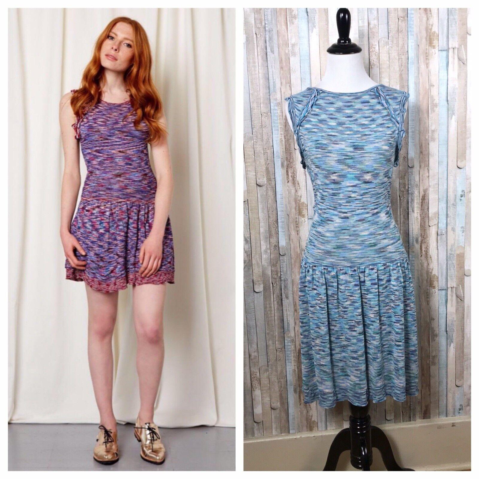 Maje 2 Rare Blau Space Dye Knit Fitted Ruffled Drop Waist Mandala Dress