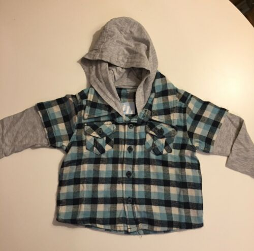 BNWT Lovely Boys Blue//Grey Cotton Checkered Hoody//Shirt by Cherokee 12-18 Months
