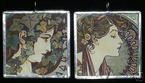 MUCHA-IVY-LAUREL-DOUBLE-SIDED-ART-GLASS-PENDANT