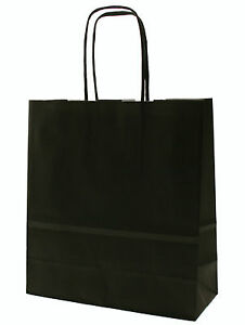 Noir-Papier-Fete-Sacs-De-Transport-avec-Tordue-Poignees-taille-20-x-18-8