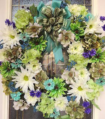 "Spring Floral Door WREATH DIVA ""Seaside Ireland"" St Patrick's Day Elegance Green"