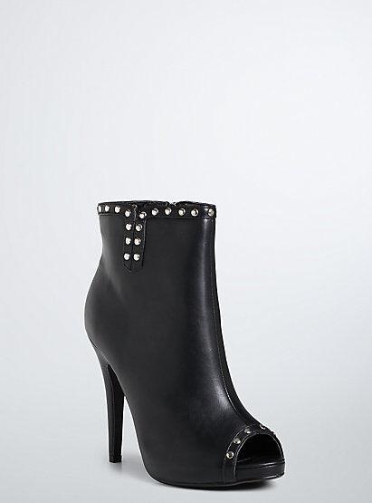 Torrid Stud Heel Booties Black Wide Width Size 8 #4051