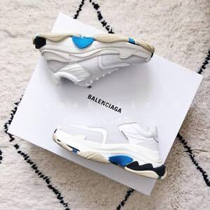f9574d0e3 BALENCIAGA TRIPLE S WHITE AND BLUE SUEDE TRAINERS SNEAKERS EU 35, 36 ...