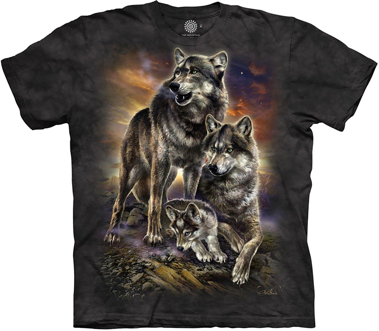 The Mountain Unisex Adult Wolf Family Sunrise Animal T Shirt
