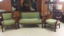 Awesome Antique 1800s VICTORIAN 3 Piece Parlor Suite Settee & 2 Side Armchair