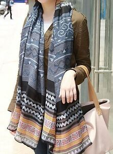Lady-039-s-Scarf-Blue-Geometric-Print-Scarf-Gift-for-Mum-FREE-POST