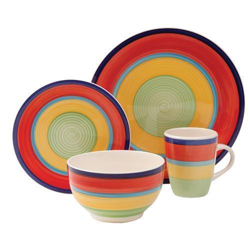 Gibson Home Santillana Bright Colorful Bands Stoneware 16 Piece Dinnerware Set | eBay  sc 1 st  eBay & Gibson Home Santillana Bright Colorful Bands Stoneware 16 Piece ...