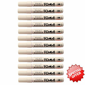 Pack of12 White Paint Marker Oil Based Opaque Pen Stone Metal Wood Glass Plastic