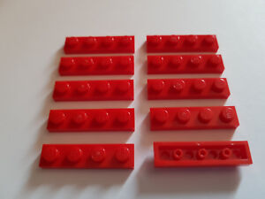 10x Plaque plate 1x4 4x1 3710 Dark Red//Rouge//Rot Lego