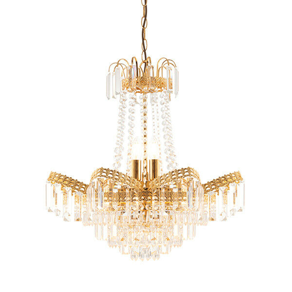9 Light Chandelier - Gold Plate finish,faceted clear Glass beads and droplets
