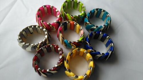 Fashion Bracelet Colorful Thick Plastic Stretchy Cord Funky Size Fits All STY4