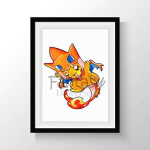 Pikazard-Fine-Art-Print-A4-Pikachu-Pokemon-STAMPA