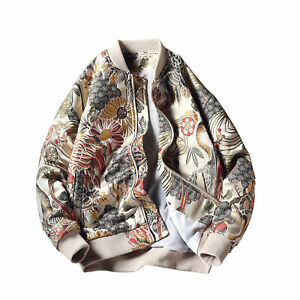 Fashion Mens Hip-hop Streetwear Japanese Embroidery Bomber Boys Jacket Coat