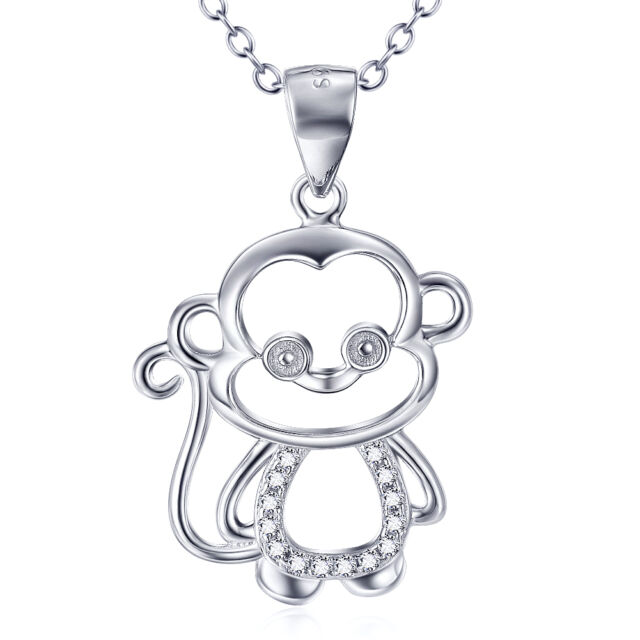 925 Sterling Silver Crystal CZ Lovely Monkey King Accent Animal Pendant Necklace