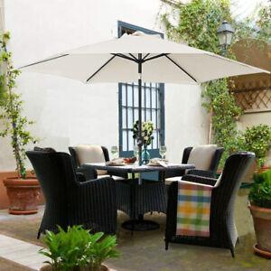 Garden Patio Parasol Outdoor Sun Shade Round Umbrella with Tilt Crank Beige 3M