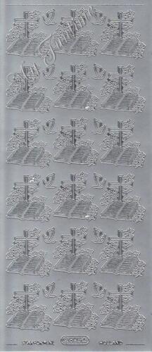 Gold oder Silber   Bibel mit Kreuz und Taube Schriftzüge Sticker