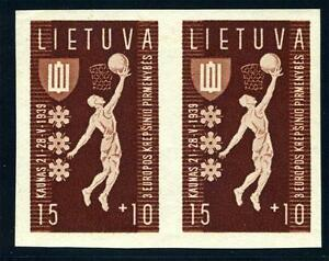 LITHUANIA-SCOTT-B52-VAR-MI-429U-PAIR-IMPERFORATED-MINT-NH-AS-SHOWN