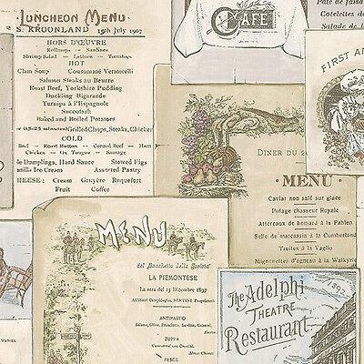 WALLPAPER SAMPLE French & English Antique Kitchen Menus
