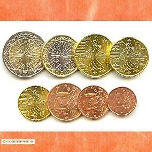 Kursmuenzensatz-Frankreich-1999-1c-2-Euro-Muenze-KMS-alle-8-Muenzen-Satz-Eurosatz