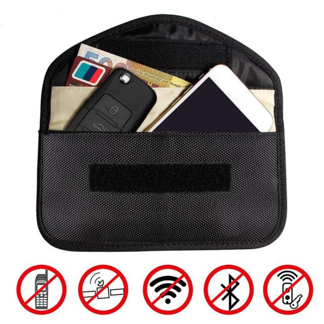 Car Key Faraday Bag Keyless Entry Fob Signal Guard Blocker Case Black-LARGE