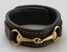 Snaffle Bit Bracelet Black Brown Fine Leather Gold Horse Equestrian USA Handmade
