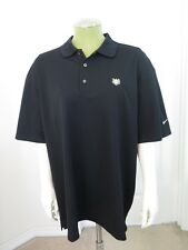Nike Golf Polo Shirt Dri-Fit L Large Black Dry Book Bible Wheat Embroidered