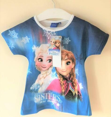 NUOVO Disney Ragazze Frozen Sorelle T-shirt Blu-UFFICIALE exstore età 4-5 6 8 10