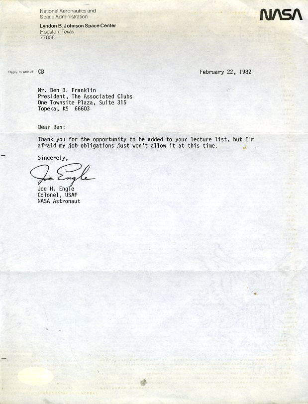 s l1600 - JOE ENGLE ASTRONAUT JSA SIGNED 1986 LETTER AUTHENTIC AUTOGRAPH