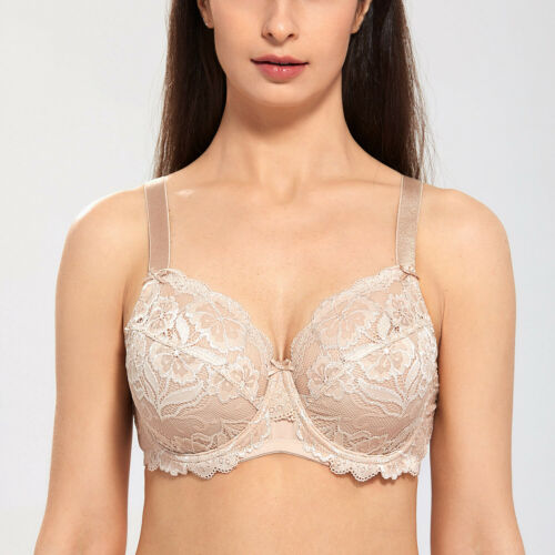 Women/'s Underwired Full Coverage No Padding Floral Lace Plus Size Bra