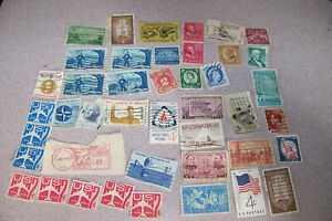 Vintage-Collection-Of-Various-Used-Stamps-Lot-Eagle-Plane-Boy-Scouts-Fire-Girls