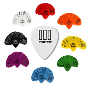 12 Dunlop Tortex TIII T3 Guitar Picks Jazz Red Orange Yellow Green Blue Purple