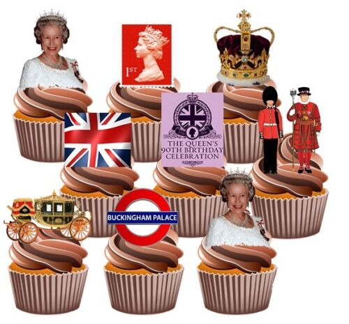 paquete de 36 Queens 90th Cumpleaños Fiesta Comestible Cupcake toppers decorations