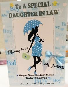 Large Personalised Baby Shower Card Boy Ebay