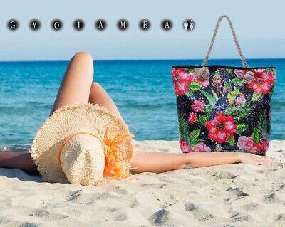 Borsa Mare Spiaggia Vacanza Fantasia Tropicale Colorata Paillettes Manici Corda