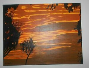Acrylic-on-Canvas-Tropical-Sunset-Northern-Territory-Signed-45-Cm-x-35-xm