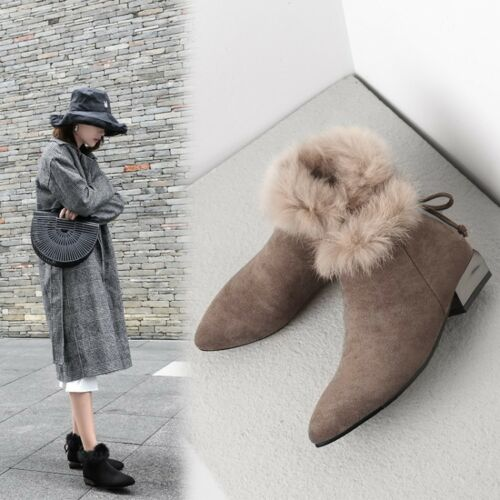 Women Block Low Heel Fur Ankle Boots Faux Suede Pointy toe Winter Warm Big Shoes