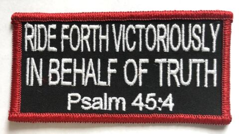 SCRIPTURE PATCH MOTORCYCLE VEST PATCH RIDE FORTH VICTORIOUSLY