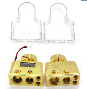 2x-Digital-Car-Battery-Terminal-Connectors-w-Voltmeter-0-4-8-Gauge-Power-Post