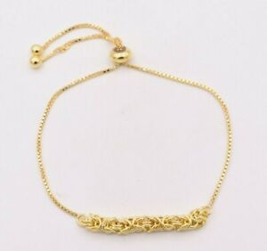 Square-Byzantine-Box-Chain-Adjustable-Bracelet-14K-Yellow-Gold-Clad-Silver-925