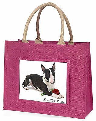 Bullterrier+Rose 'Liebe, die Sie Mama' Große Rosa Einkaufstasche Weihnachten,